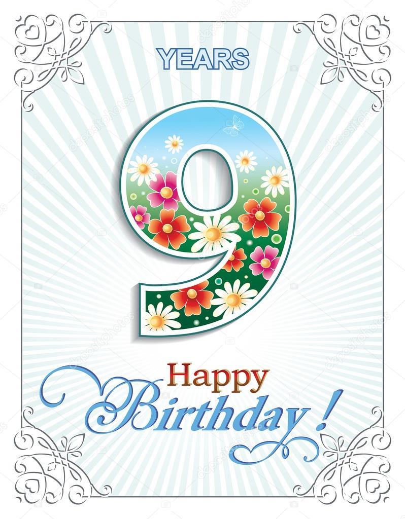 přání k 9 narozeninám Přání k narozeninám 9 let — Stock Vektor © seriga #107276848 přání k 9 narozeninám
