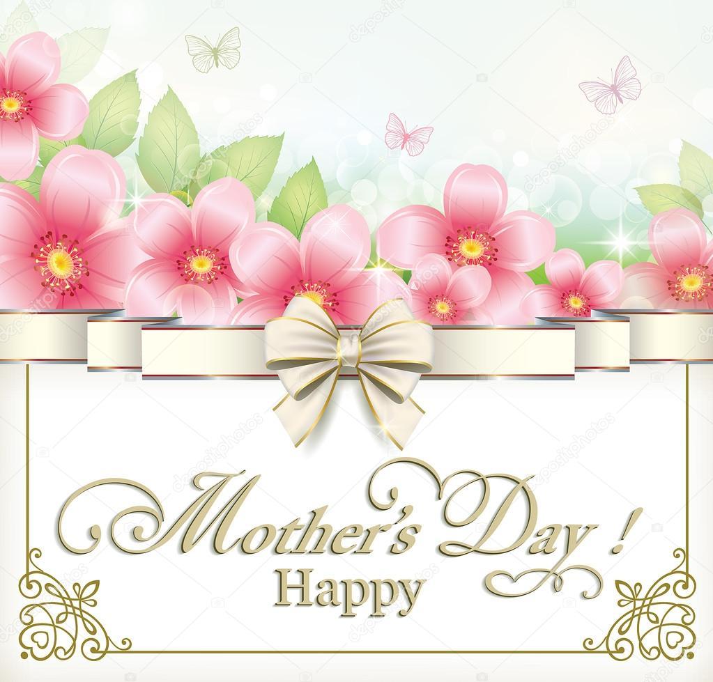 Tarjeta de felicitación en el día de la madre — Archivo Imágenes ...