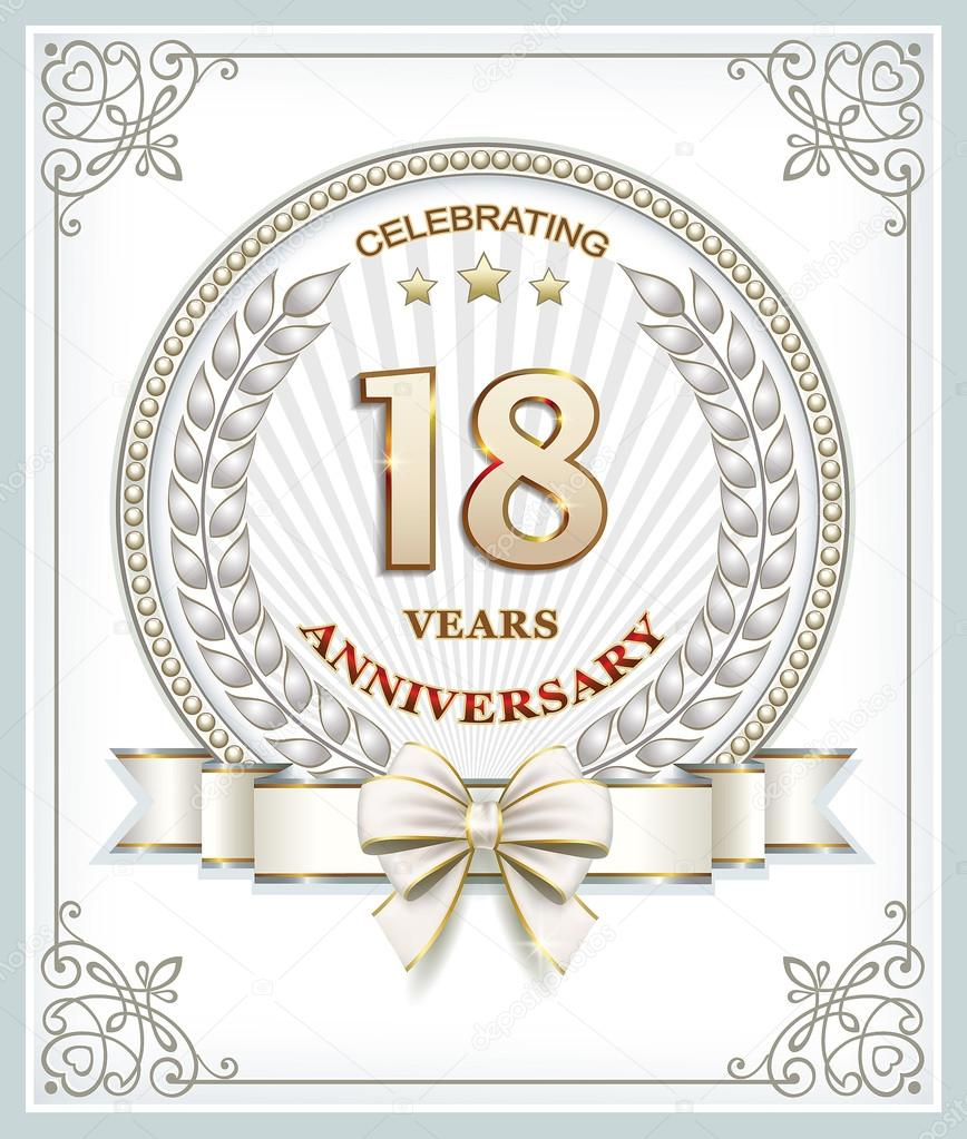 Hochzeitstag 18 Jahre — Stockvektor © seriga #111332296