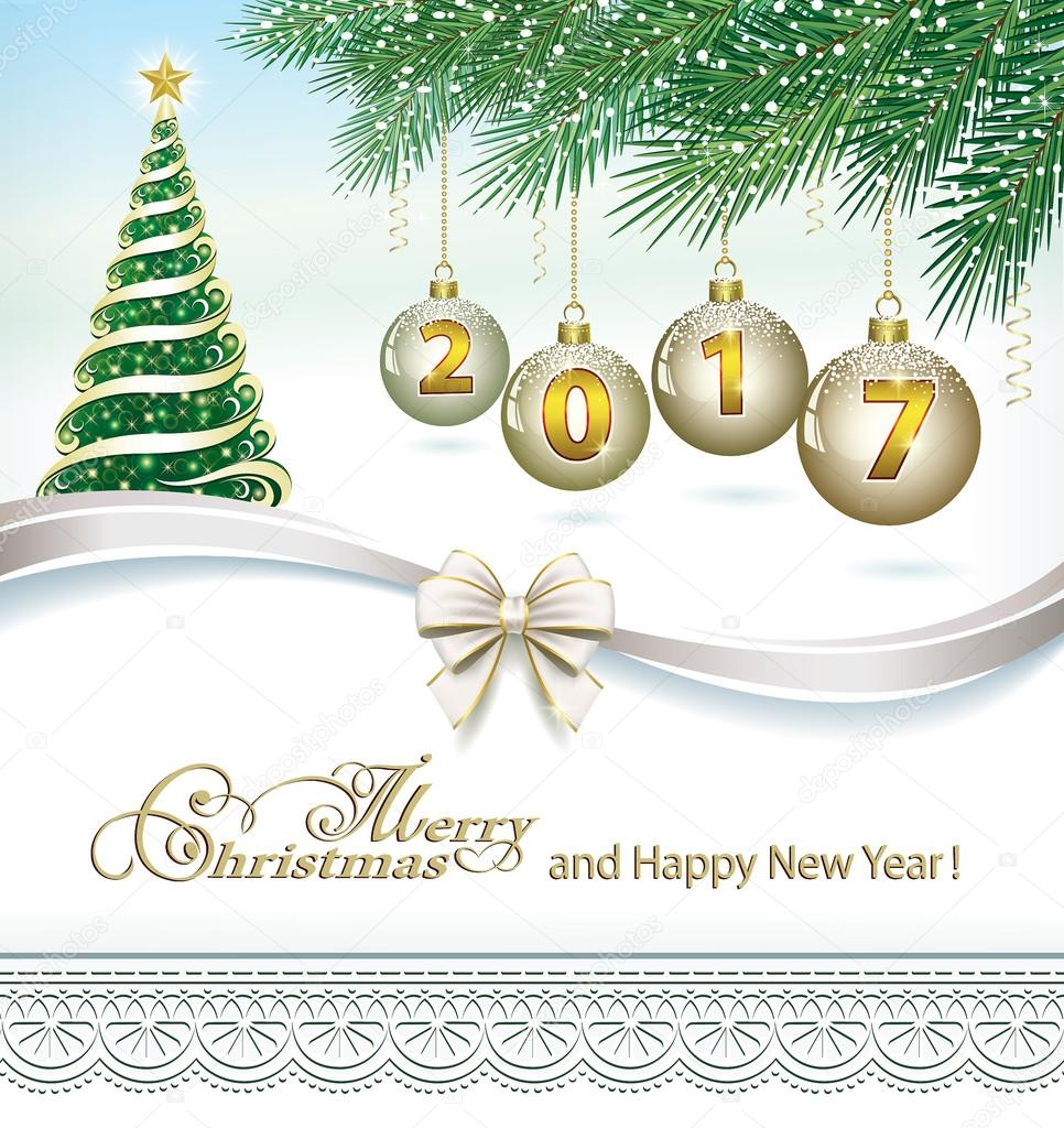 2017 Christmas Card With Fir Tree And Balls On The Background Of Branches Ornaments Vector By Seriga