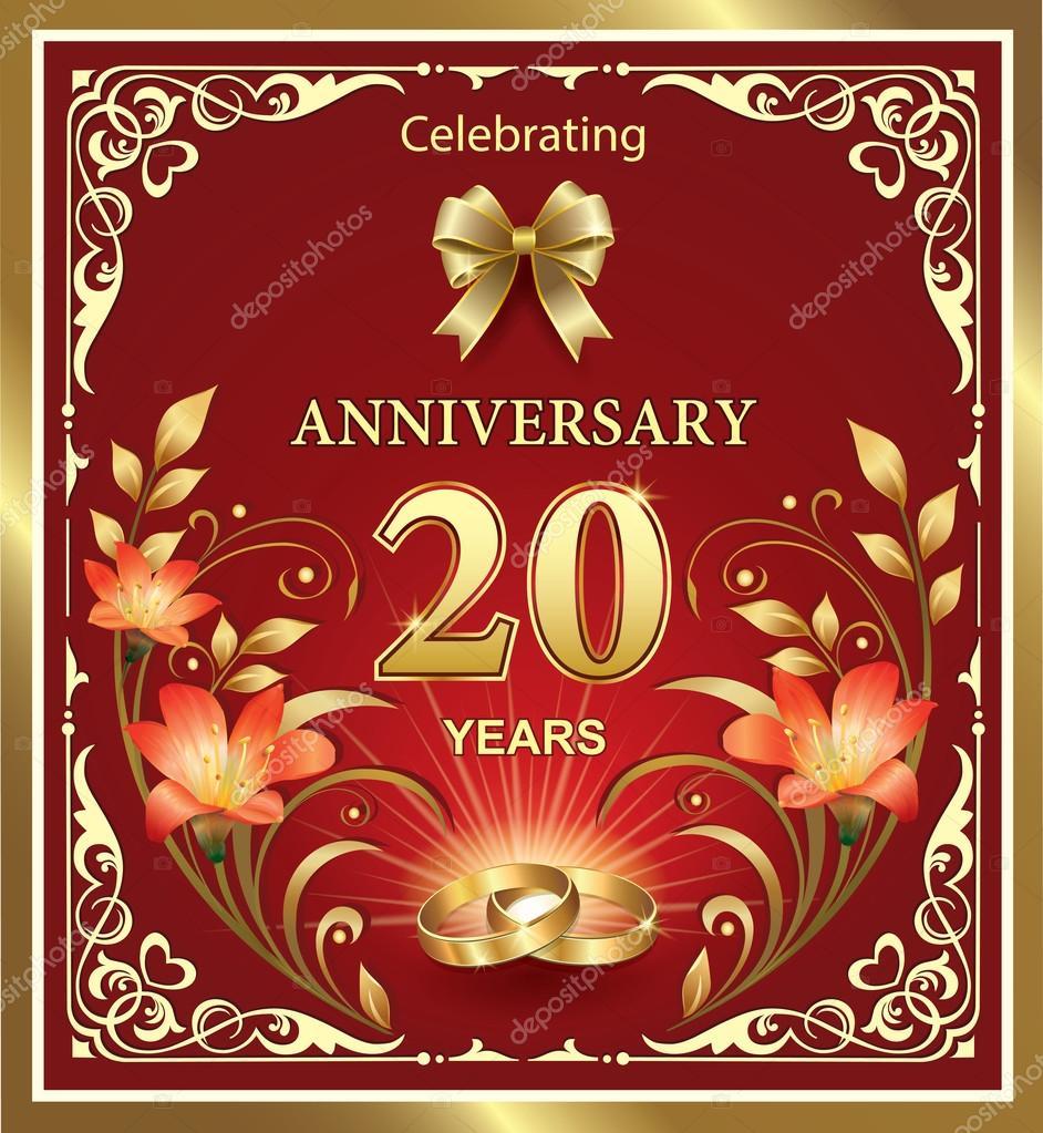 Hochzeitstag Fur 20 Jahre Stockvektor C Seriga 72136147
