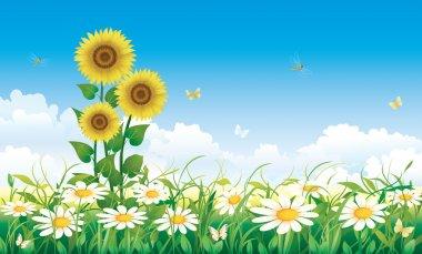 "Картина, постер, плакат, фотообои ""Природный ландшафт с цветами"", артикул 77345930"