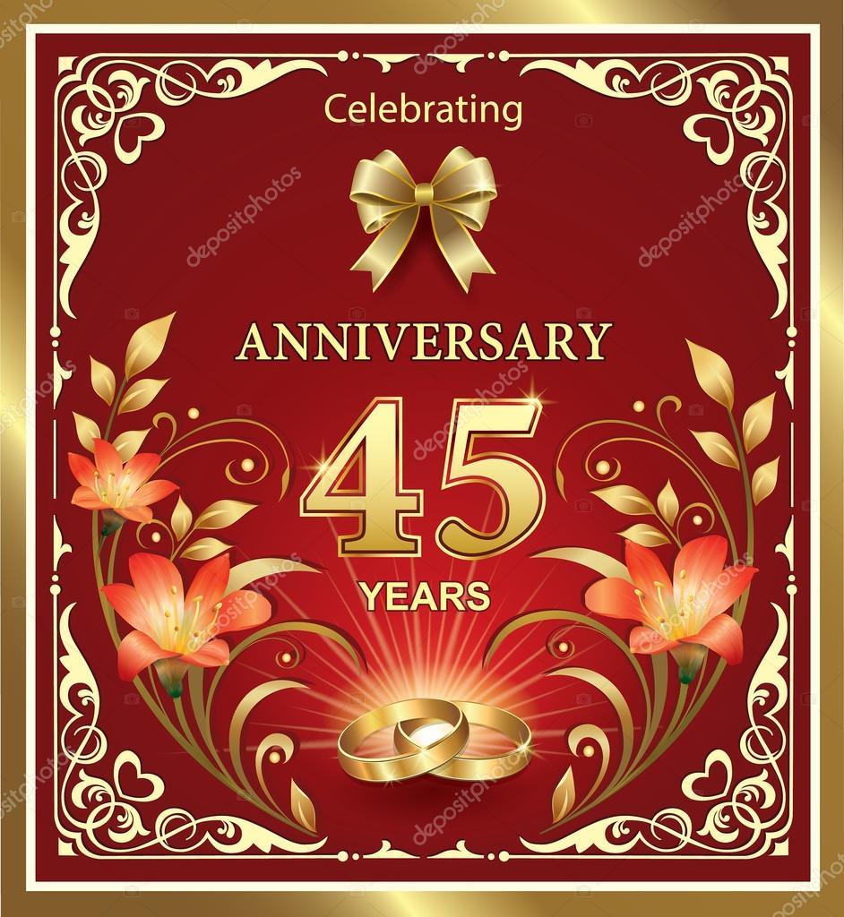 Anniversario Matrimonio 45 Anni.Anniversary 45 Years Of Wedding Stock Vector C Seriga 78506264