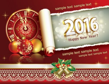 Christmas banner with a roll of paper in 2016 and a clock