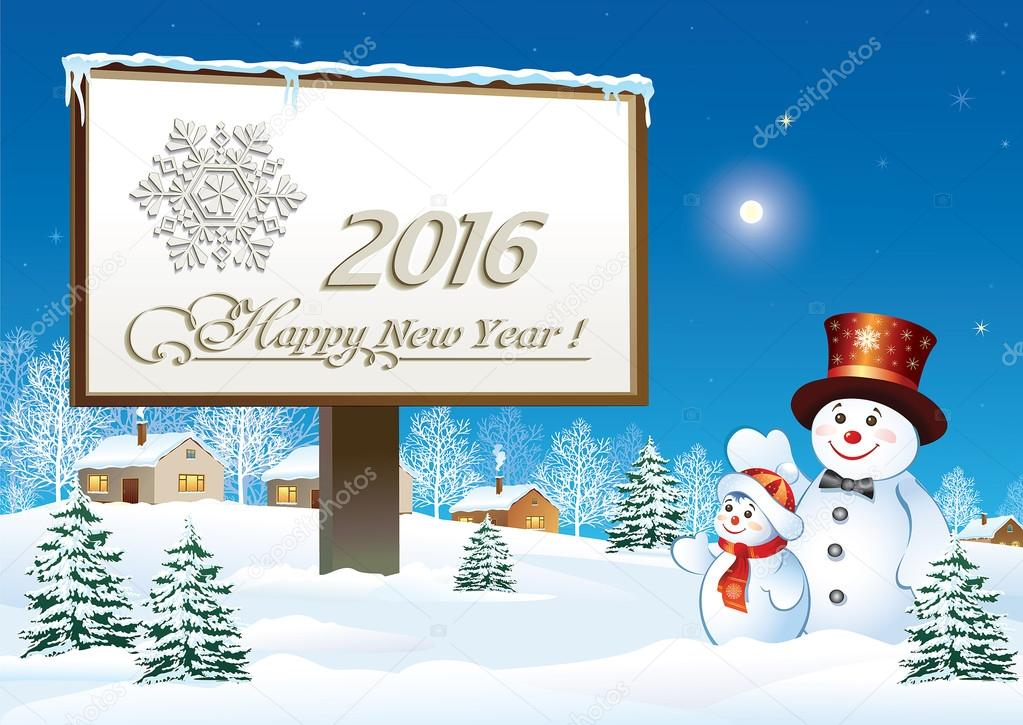 Happy New Year 2016 on a billboard with snowmans