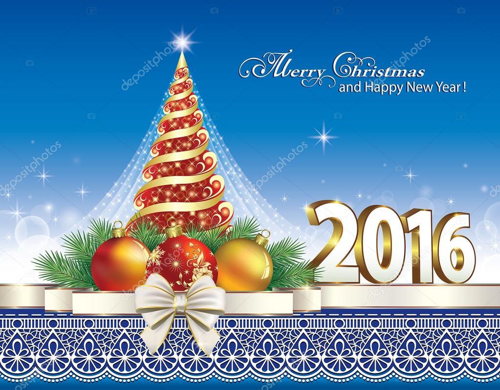 Christmas card with Christmas tree 2016