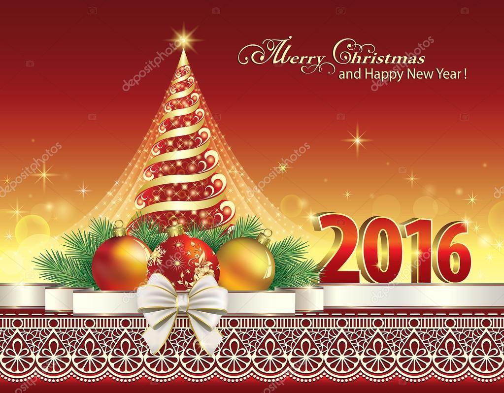 2016 Christmas card with Christmas tree