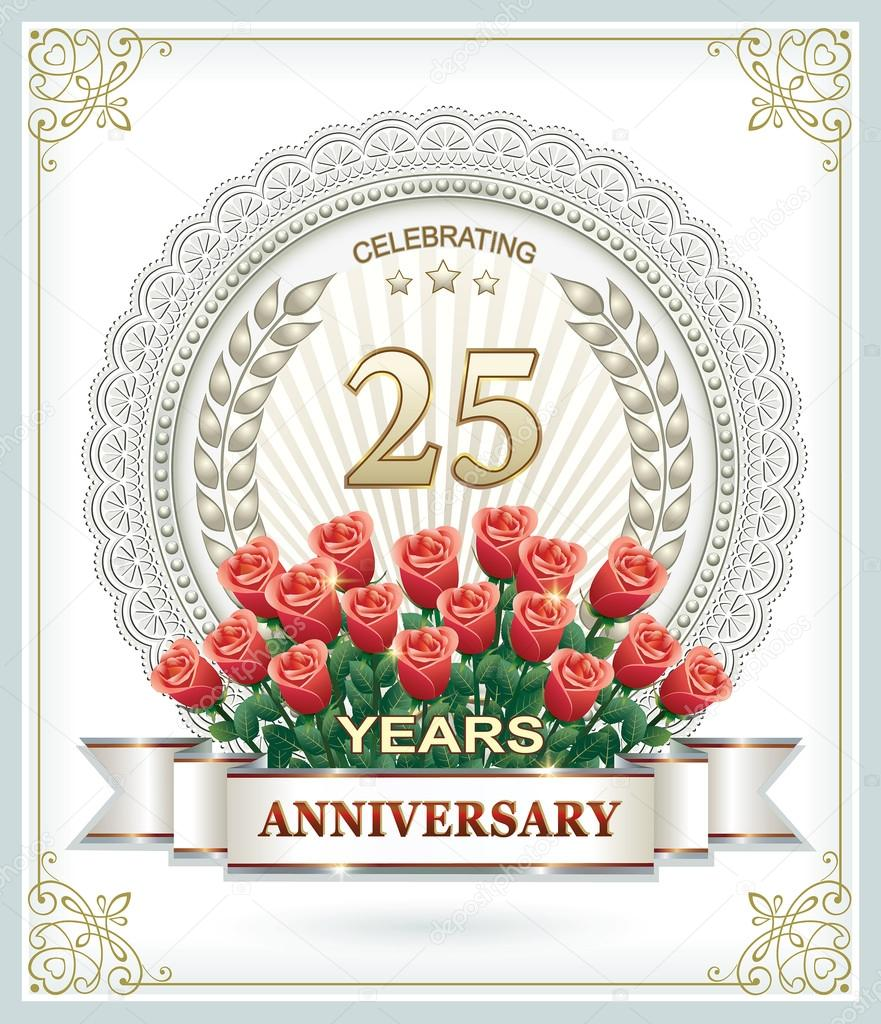 25 Years Anniversary Card With Roses Stock Vector