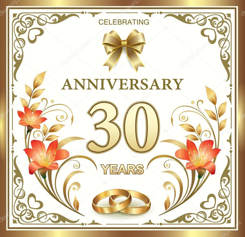 30 Anni Anniversario Matrimonio.Vettore Di Anniversario Di Matrimonio 30 Anni Matrimonio