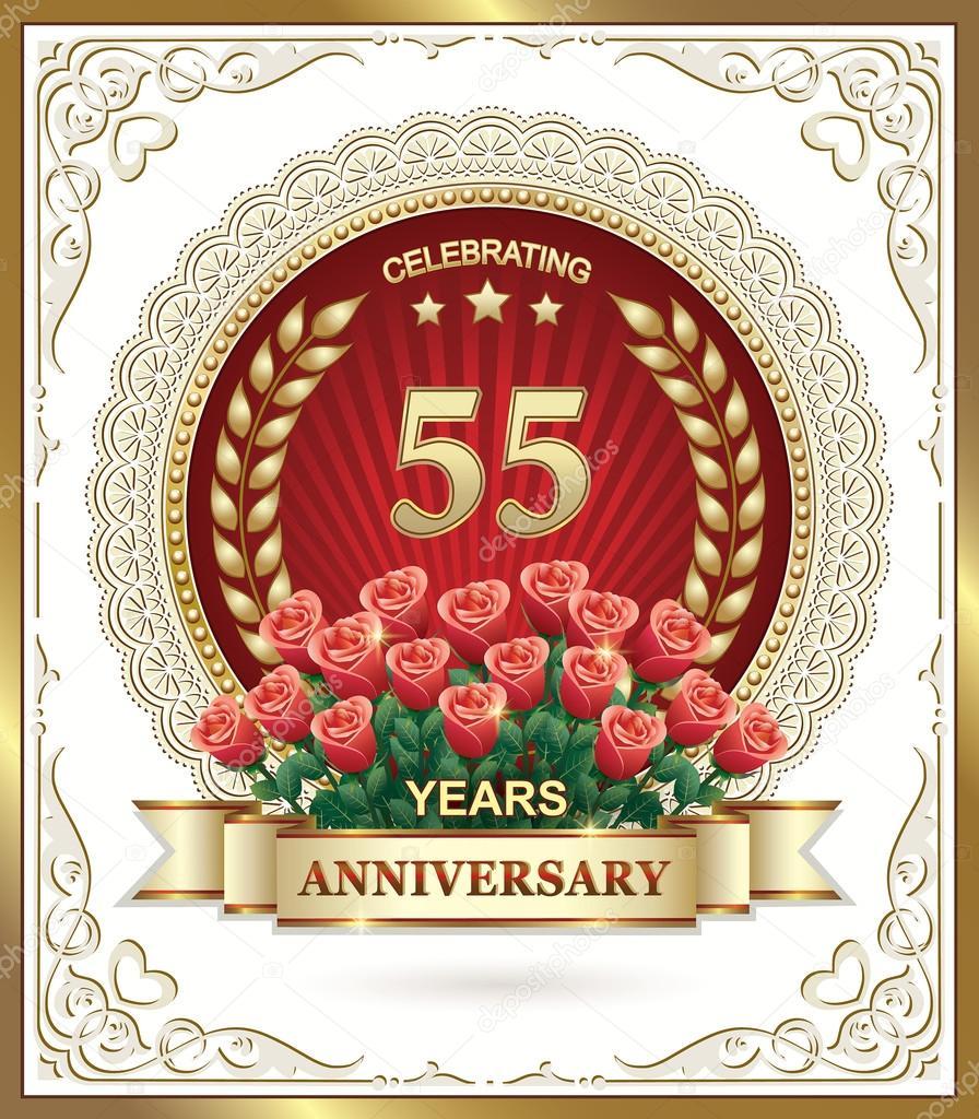55 Jaar Verjaardag Kaart Met Rozen Stockvector C Seriga 96693972