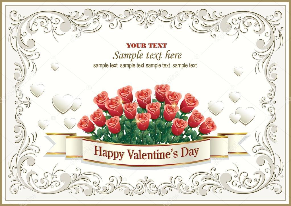 Grußkarte in einem Rahmen mit Verzierung und die Farben der Rosen ...