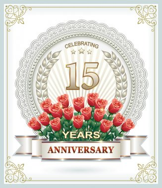 15 years Anniversary card with roses