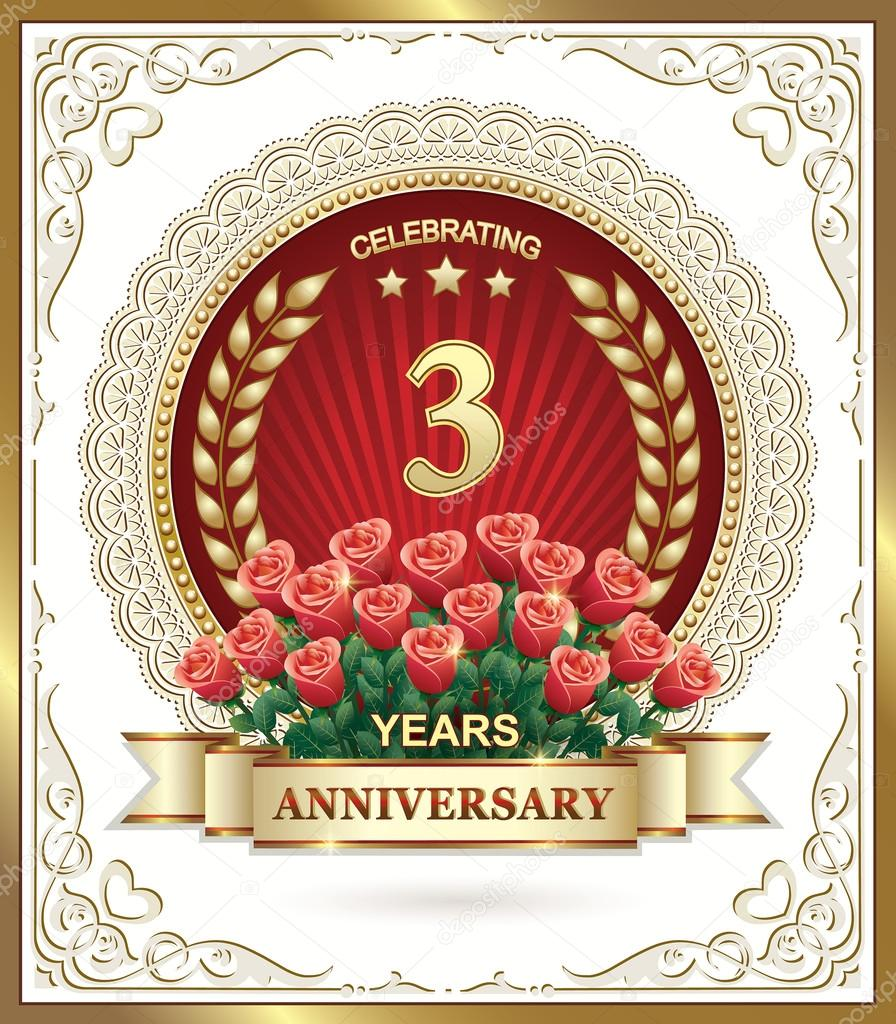 Anniversario Matrimonio 3 Anni.3 Years Anniversary Card With Roses Stock Vector C Seriga 98459626