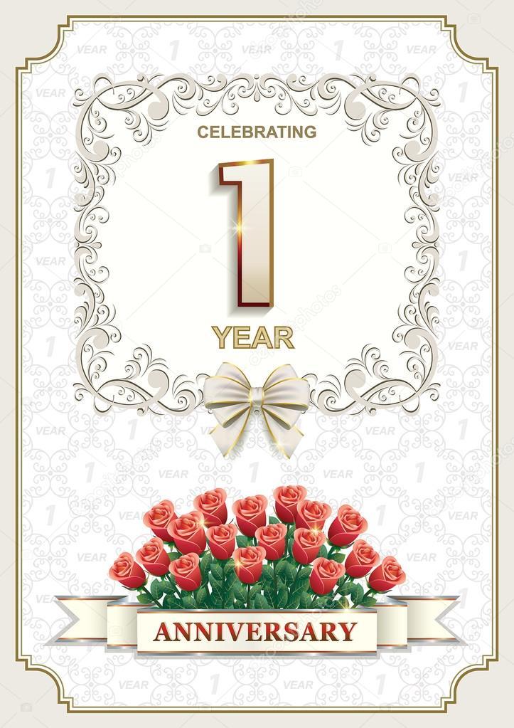 1 Year Anniversary Card With Roses Stock Vector Seriga 98460000