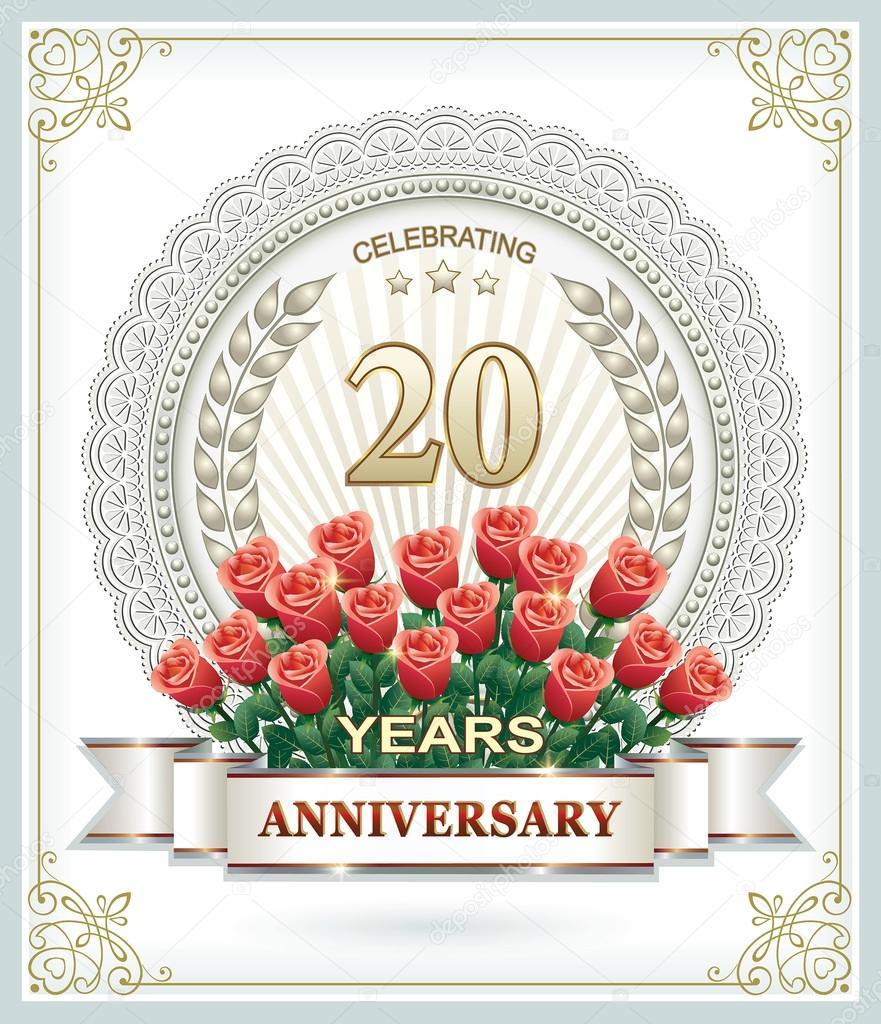 20 years Anniversary card with roses — Stock Vector © seriga #99933940