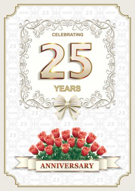 25 years Anniversary card with roses