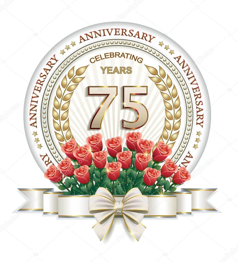 75 års kort 75 års jubileum kort med rosor — Stock Vektor © seriga #99965502 75 års kort