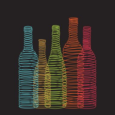 Isolated abstract spiral wine bottles