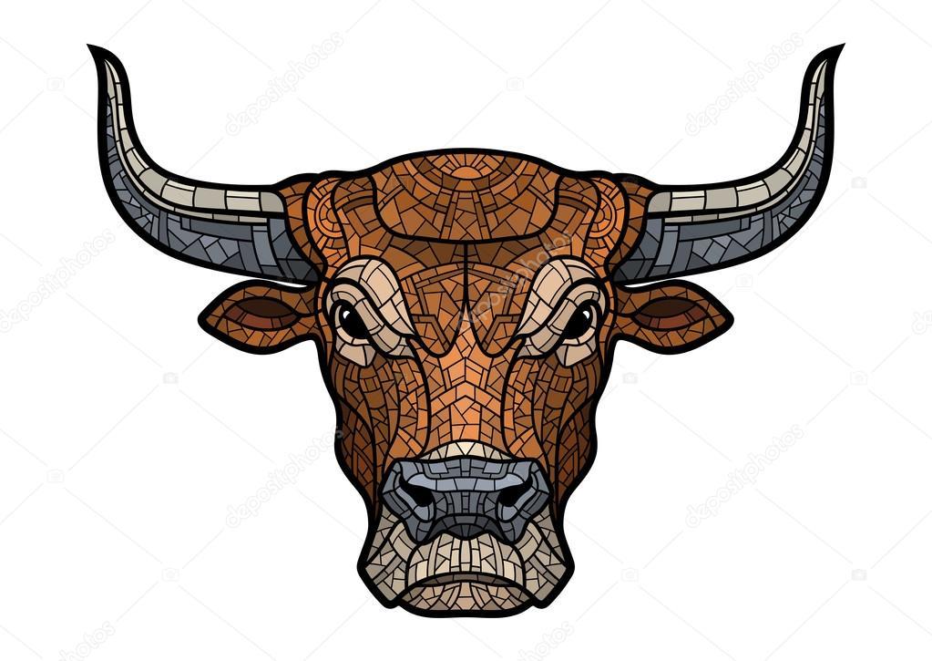 Ilustración Aislada Cabeza De Toro