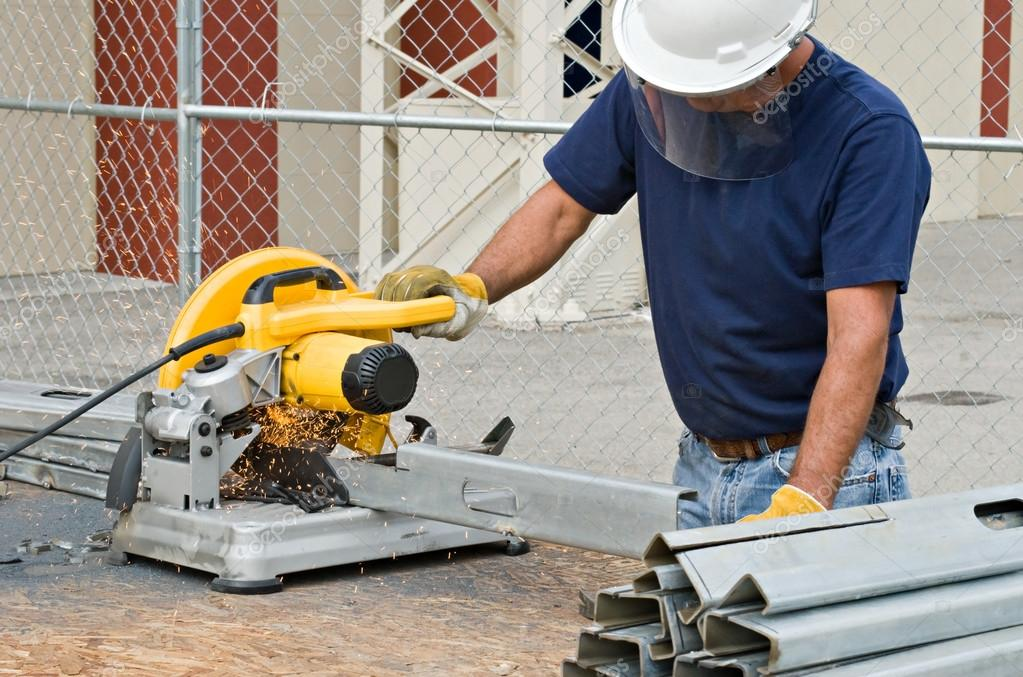Worker Working with Saw — Stock Photo © Lawcain #67832591