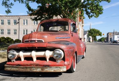 Vintage Truck in Small Town