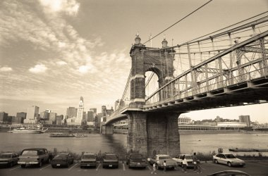 Retro John A. Roebling Suspension Bridge