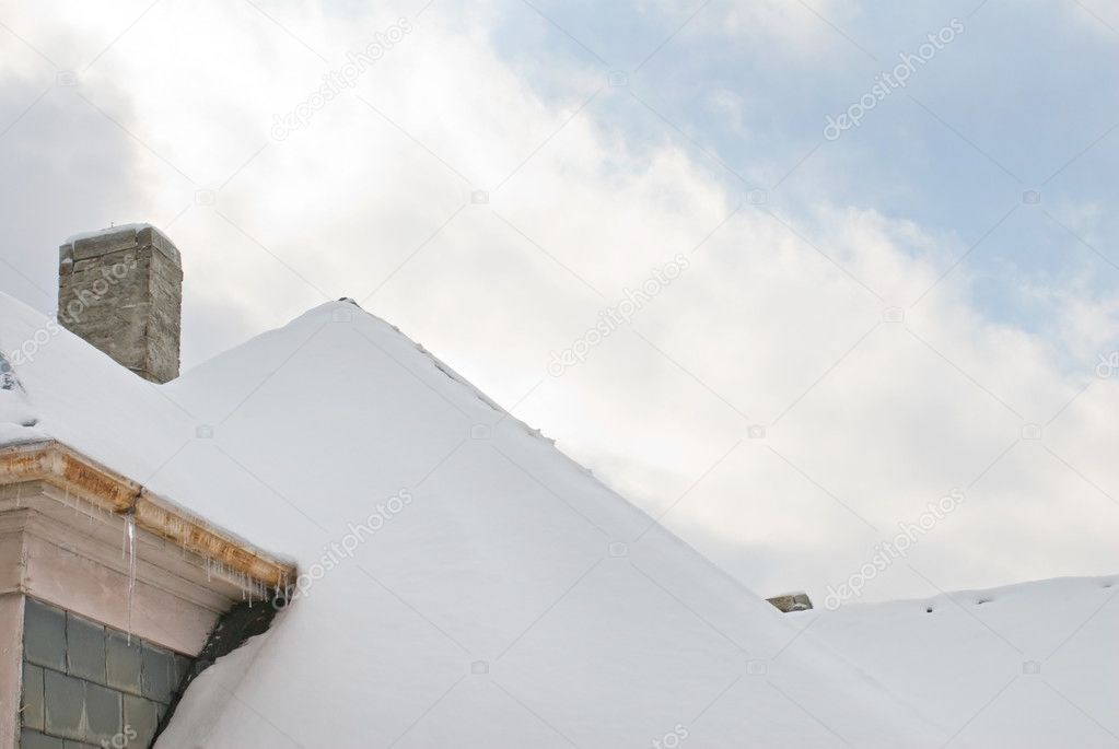 Snowy Rooftop with Sky