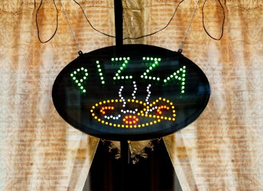 Pizza Sign in Cafe Window