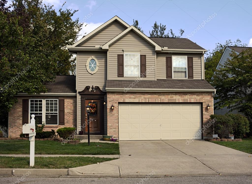 Suburban House With Double Garage Stock Editorial Photo