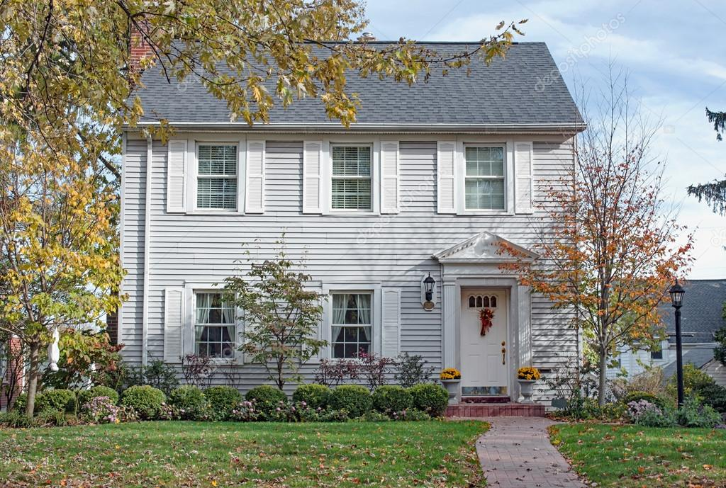 Gray Georgian Colonial House