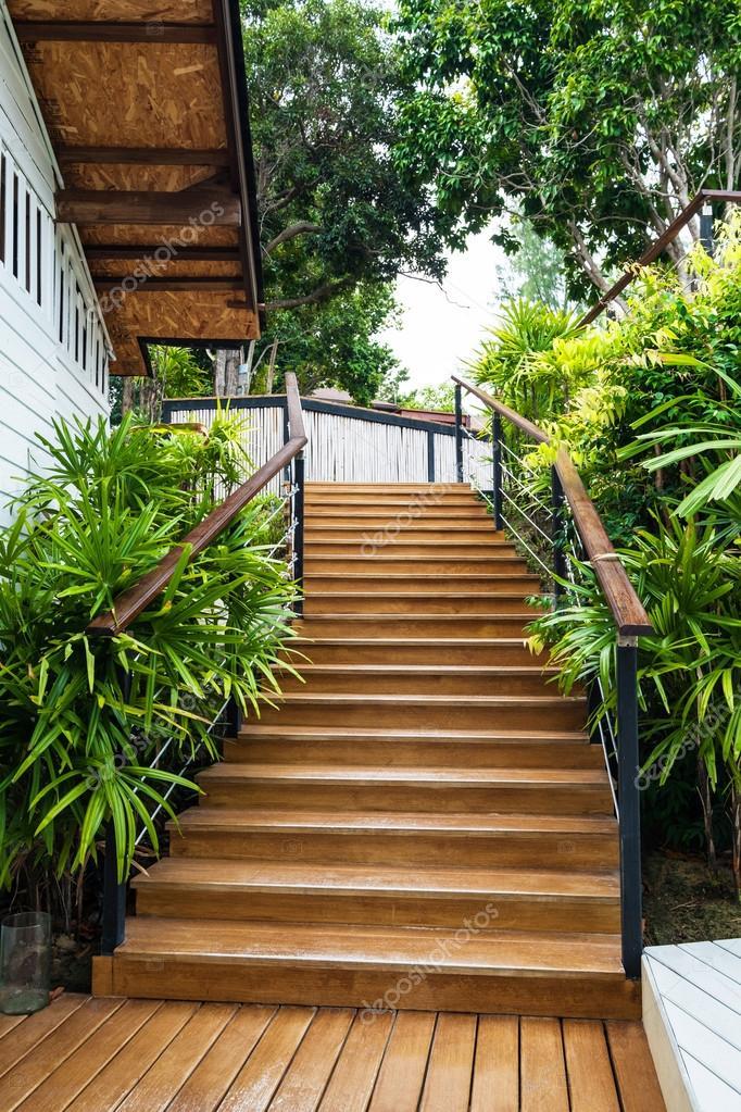houten trappen in de tuin stockfoto sasinp 110474224
