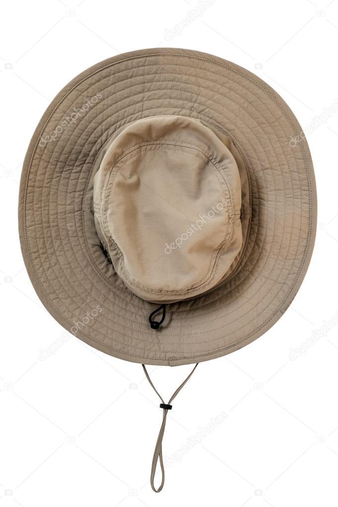 Chapéu impermeável de explorador marrom tecido com fita de pescoço ... 752500c1d5f
