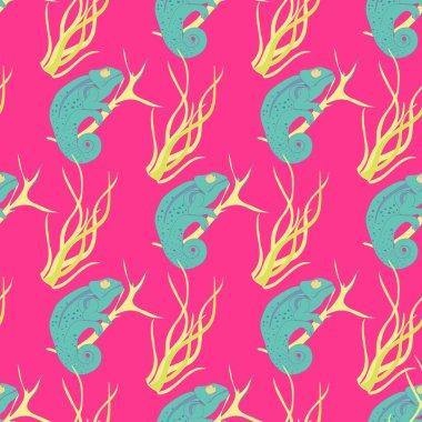 Chameleons seamless pattern