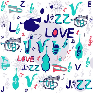 Jazz instruments pattern.