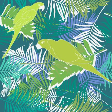 Palm leaves with parrots