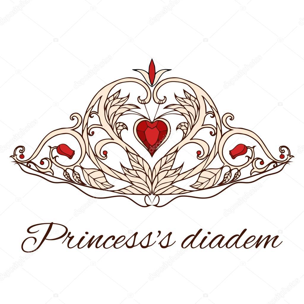 Tiara de la princesa dibujados a mano — Archivo Imágenes Vectoriales ...