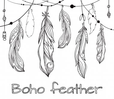 hand drawn feathers  with boho pattern