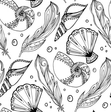 of hand drawn feathers and seashells