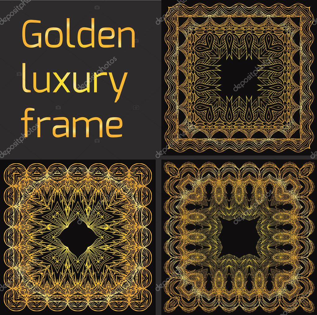 Frame at gatsby style stock vector veleri 105750128 set of golden luxury frame at gatsby style vector element for greeting cards invitations covers and your design vector by veleri stopboris Image collections