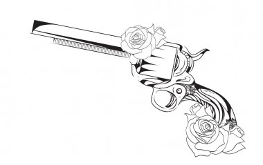 illustration of  revolver with roses.