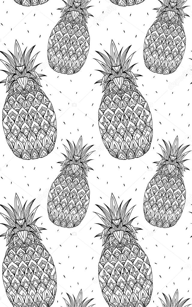 Modello Senza Saldatura Con Ananas Vettoriali Stock Veleri