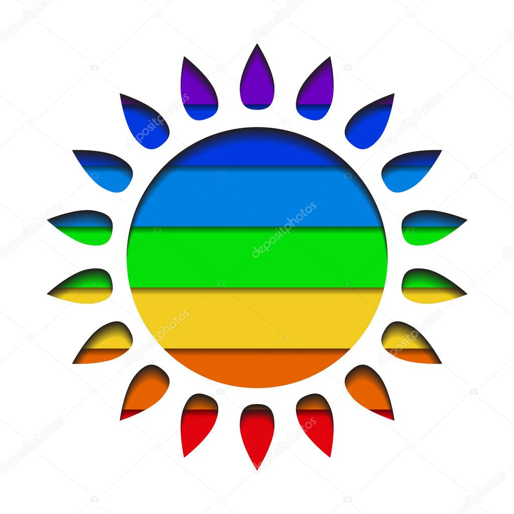 Paper cut silhouettes of the sun with layered rainbow background. Pride month. Shining love to all. Vector cutting object for icons, logos, infographics and your design. icon