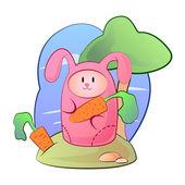 Růžový zajíček s mrkví