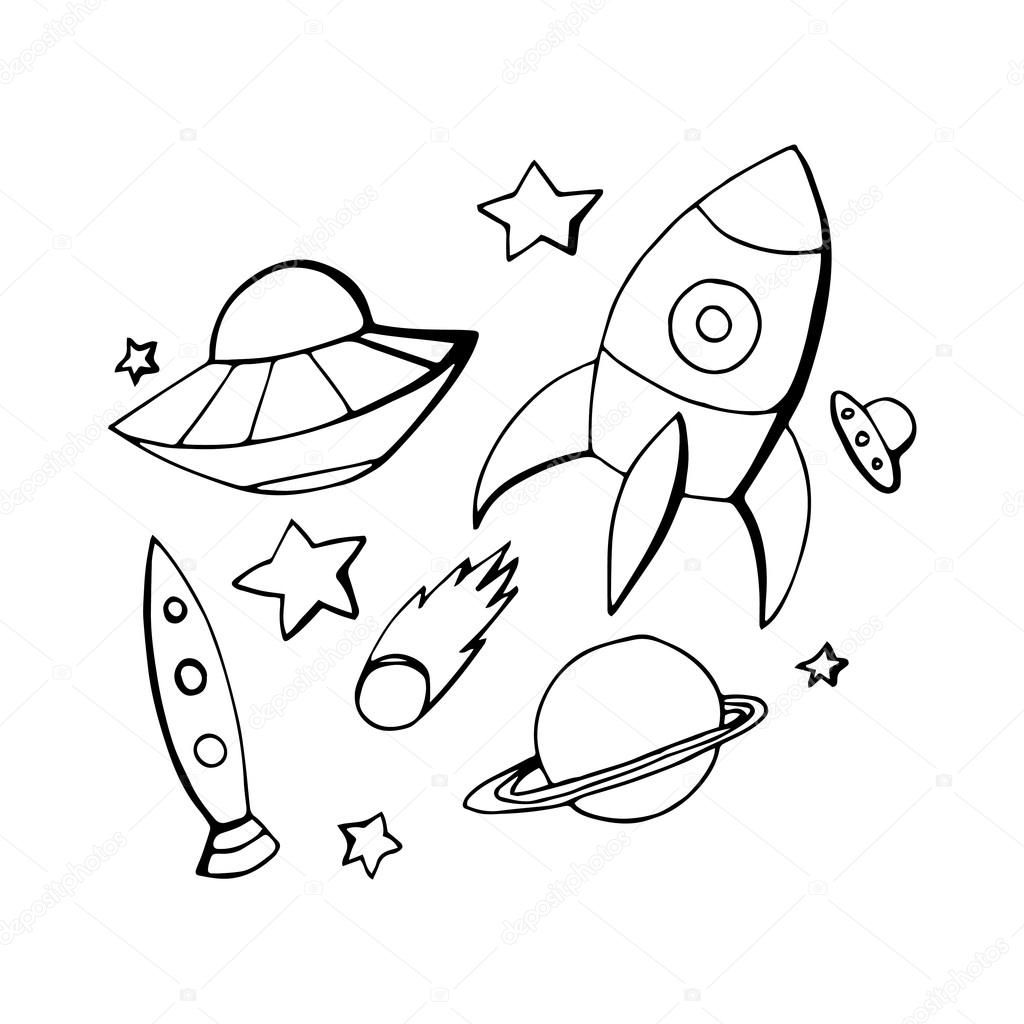 Pictures Space Drawing Drawing Objects On The Theme Of The Space Stock Vector C Veleri 75529119