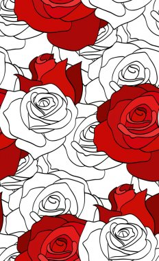 doodle red and white roses