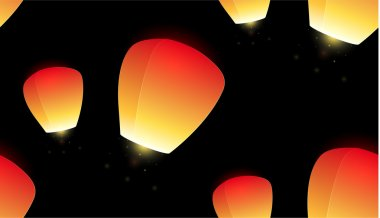 flying sky lanterns