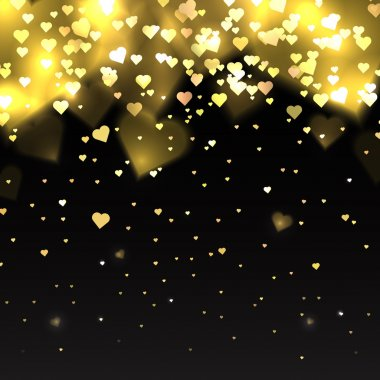 Illustration with gold glitter hearts