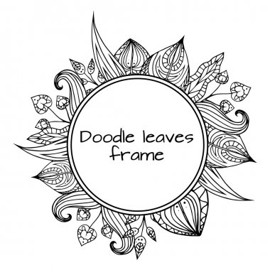 black and white doodle leaves