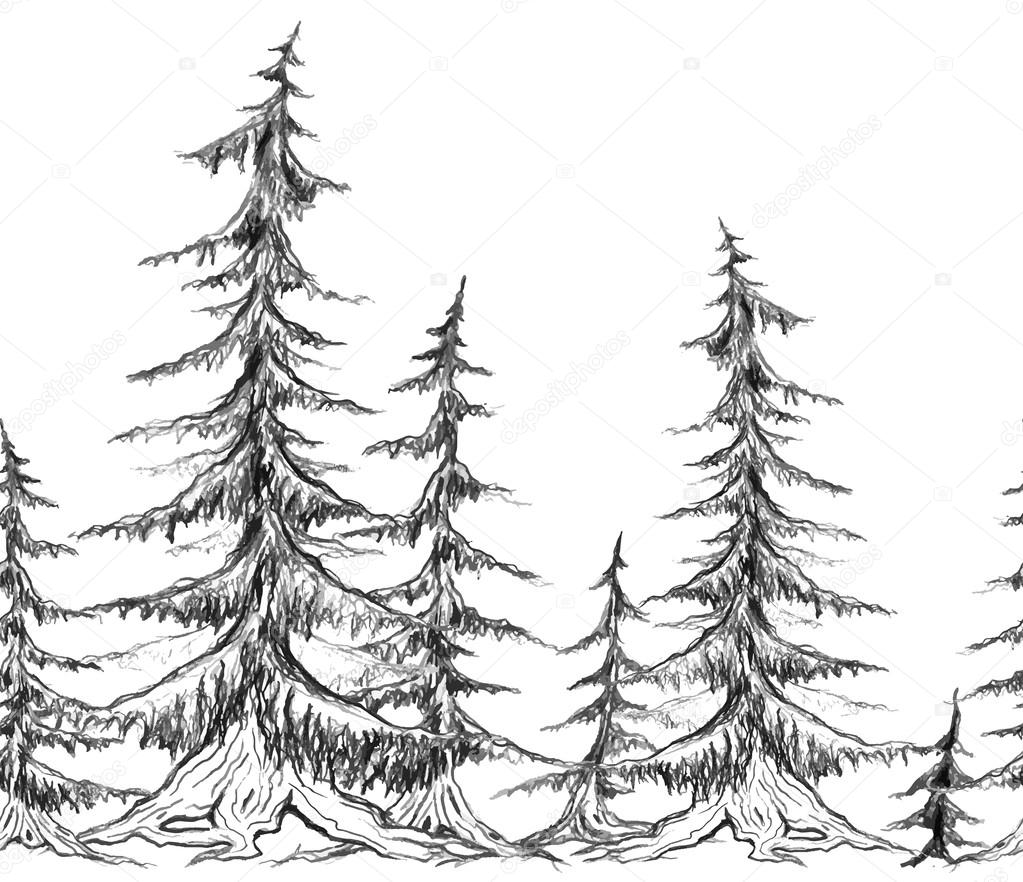 Seamless border with pencil sketch trees.