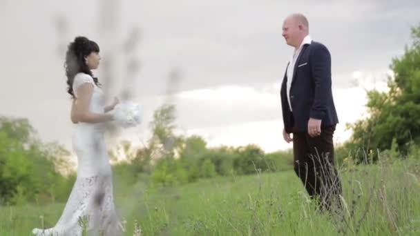 Bride and groom wedding in park